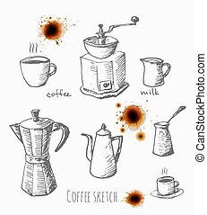 Set of coffee elements. Realistic coffee stains.