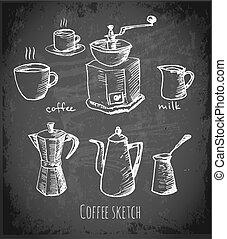 Set of coffee elements on blackboard