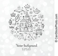 Card with princess accessories Vector sketch illustration