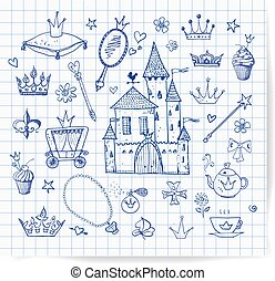 Sketches of princess accessories Vector sketch illustration...