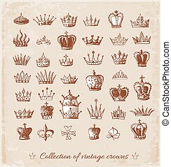 Sketch crowns collection. Hand-drawn with ink. Vector...