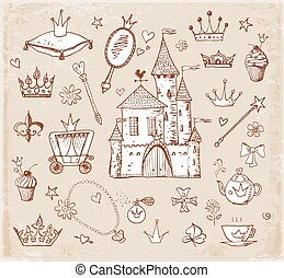 Princess accessories in vintage style - Sketches of princess...