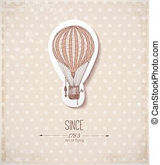 Vintage card with balloon on beige .