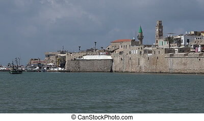 Acre Akko port panoramic cityscape - Panoramic landscape...