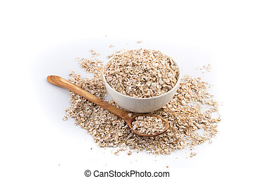 Oat flakes for Breakfast isolated on white background -...