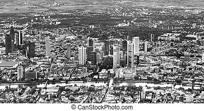 aerial of Frankfurt am Main in late afternoon light