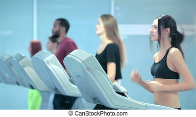 Fitness running people. Sports people running on the...