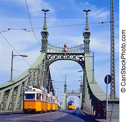 Freedom Bridge, Budapest, Hungary with tram - The green...