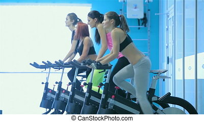 Girl pedaling on the simulator while four friends athletes...