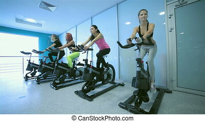 Group exercises in the gym. Sports friends pedaling and...