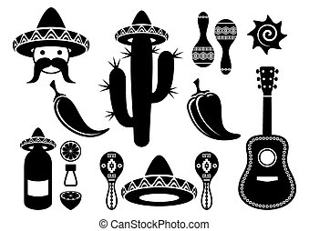 Black-vector-mexico-silhouette-icons-collection-isolated.eps...