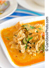 red curry - close up red curry with pork and coconut milk...