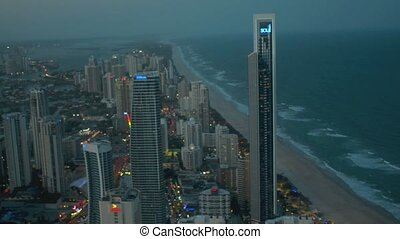 Surfers Paradise CBD at dusk in Gold Coast, Australia.It's...