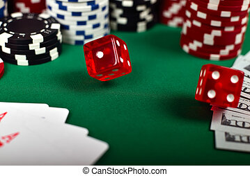 falling poker red  dice