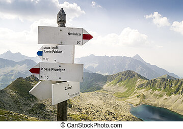 Sign with direction on Zawrat Pass, Tatra Mountains, Poland