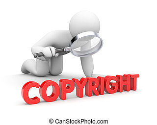 The person examines copyright sign