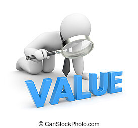Person examines value - Business concept. Isolated on white