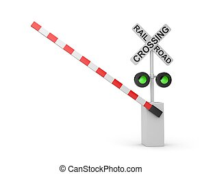 Railroad crossing. Green light. Isolated on white