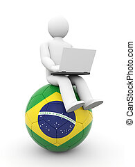 Football journalist or soccer fan work on laptop. Isolated...