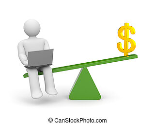 White character between work and money. Work outweighs -...