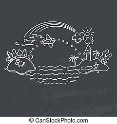 Freehand drawing - flight of airplane - Freehand drawing -...