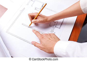 Professional architect making drawing - Do it in such a way....