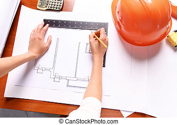 Professional architect making drawing - Involved in work....