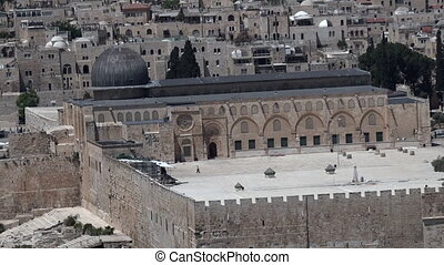 Al Aqsa mosque Jerusalem - Aerial view of Al Aqsa mosque on...