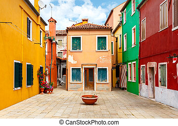 Italy. The island of Burano. - The island in the lagoon near...