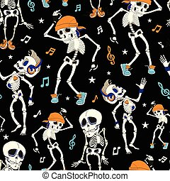 Dancing Skeletons Party Halloween Seamless Pattern. Music...