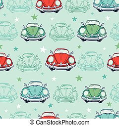 Colorful Vintage Cars Seamless Pattern Funny Headlights Auto...