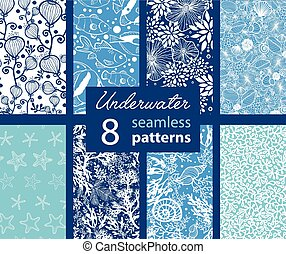Underwater Life Eight Set Seamless Pattern. California Coast...