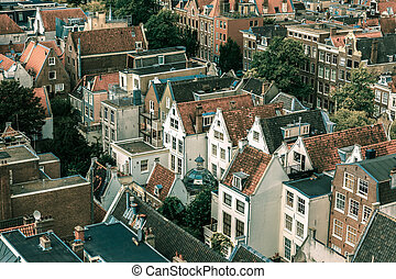 Amsterdam city view from Westerkerk, Holland - Roofs and...