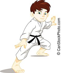 karate boy - vector illustration of karate boy