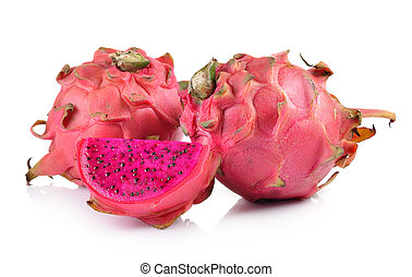 red dragon fruit on white background