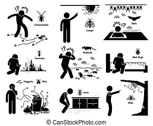 Infestation of Pests - A set of pictograms representing man...