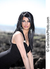 Cute Indian Model Outdoors - Cute Young Indian Model In An...