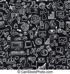 Doodle seo icons in seamless pattern on chalkboard - Doodle...