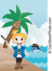 Pirate on the beach Vector
