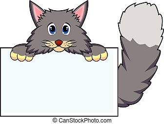 Cat with white board - colourfull