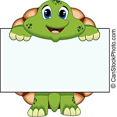 Turtle with white board - colourfull