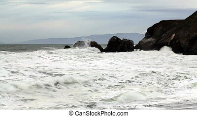Moderate Wide Shot Of Waves Hitting - Northern California...