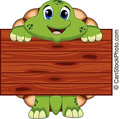 Turtle with wooden board