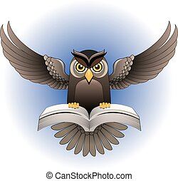 Vector, Owl flying with the book - Owl flapping wings,...