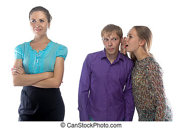 Photo two gossiping woman and man