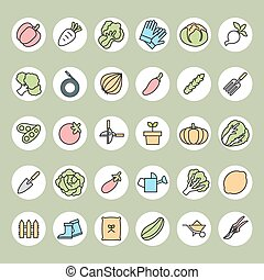 Vegetable garden and Gardening equipment ,vector icon