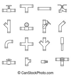 Pipe and Valve icon set
