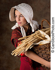 Victorian peasant girl - Reenactment image of a victorian...