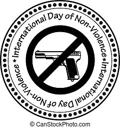 International Day of Non-Violence - The print a rubber stamp...