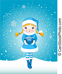 Winter girl in snow - Winter Cute little girl holding a...